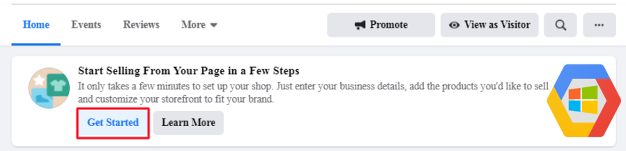 Start selling from your page in a few steps